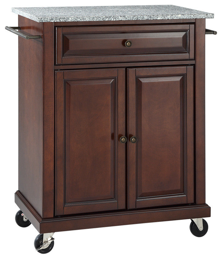 Solid Granite Top Portable Kitchen Cart, Island, Vintage Mahogany Finish - Pot Racks Plus
