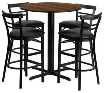 24'' Round Walnut Laminate Table Set with X-Base and 4 Two-Slat Ladder Back Metal Barstools - Black Vinyl Seat