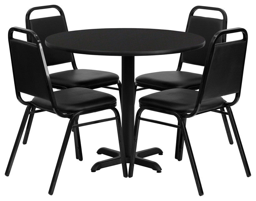 36'' Round Black Laminate Table Set with X-Base and 4 Black Trapezoidal Back Banquet Chairs