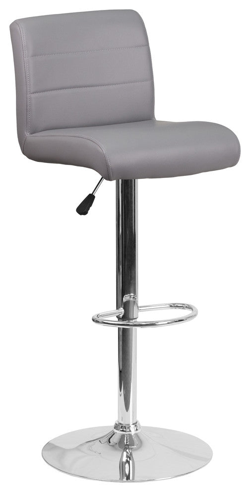 Contemporary Gray Vinyl Adjustable Height Barstool with Rolled Seat and Chrome Base