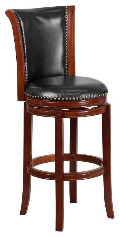 30'' High Dark Chestnut Wood Barstool with Panel Back and Black LeatherSoft Swivel Seat