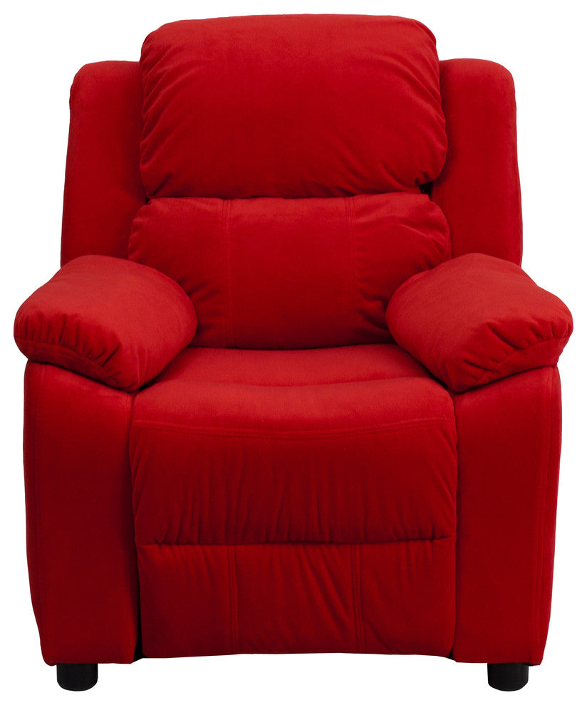 Flash Furniture   Deluxe Padded Contemporary Red Microfiber Kids Recliner with Storage Arms - Pot Racks Plus