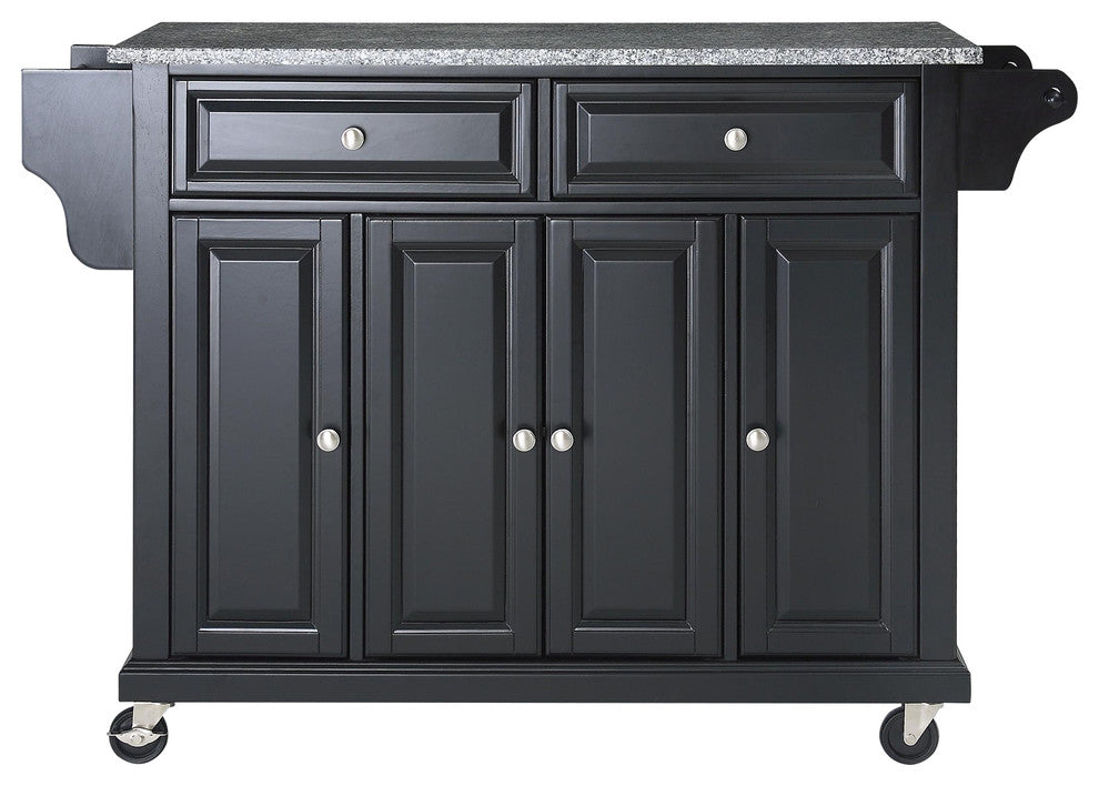 Solid Granite Top Kitchen Cart, Island, Black Finish - Pot Racks Plus