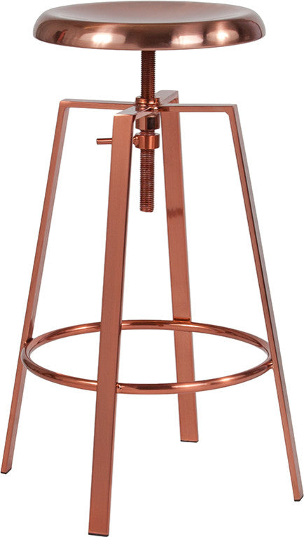 Flash Furniture Toledo Industrial Style Barstool with Swivel Lift Adjustable Height Seat in Rose Gold Finish - Pot Racks Plus