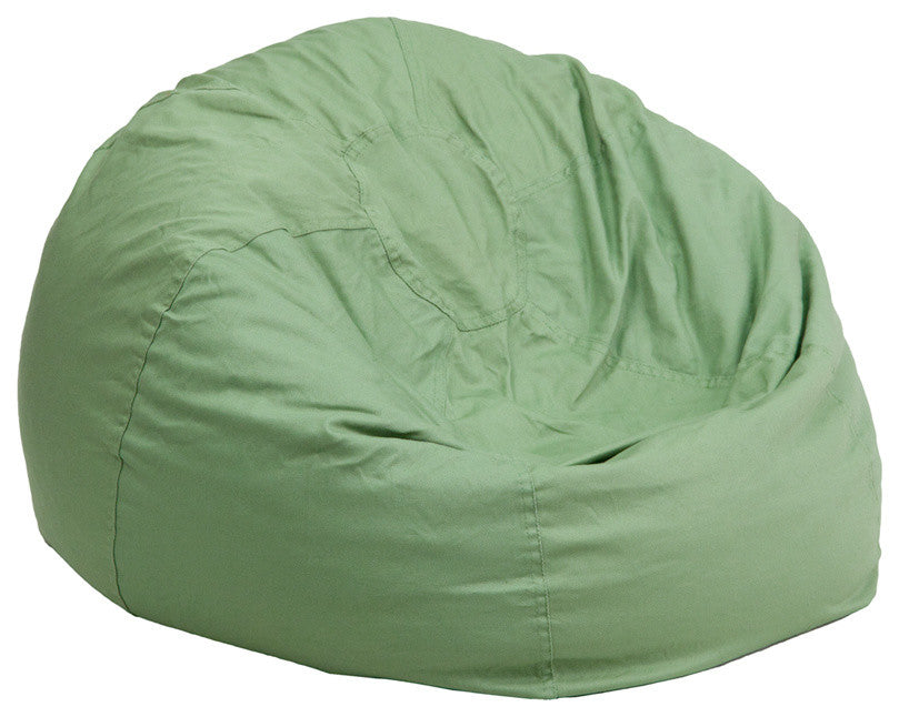 Flash Furniture   Oversized Solid Green Bean Bag Chair for Kids and Adults - Pot Racks Plus
