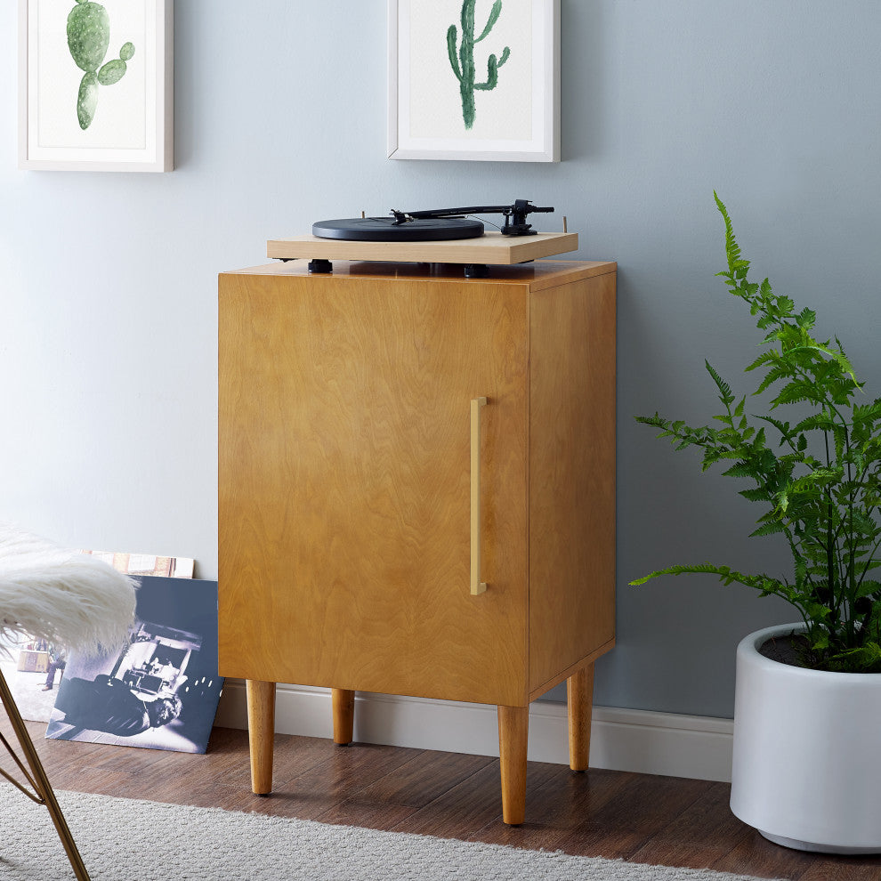 Everett Record Player Stand In Acorn Finish - Pot Racks Plus