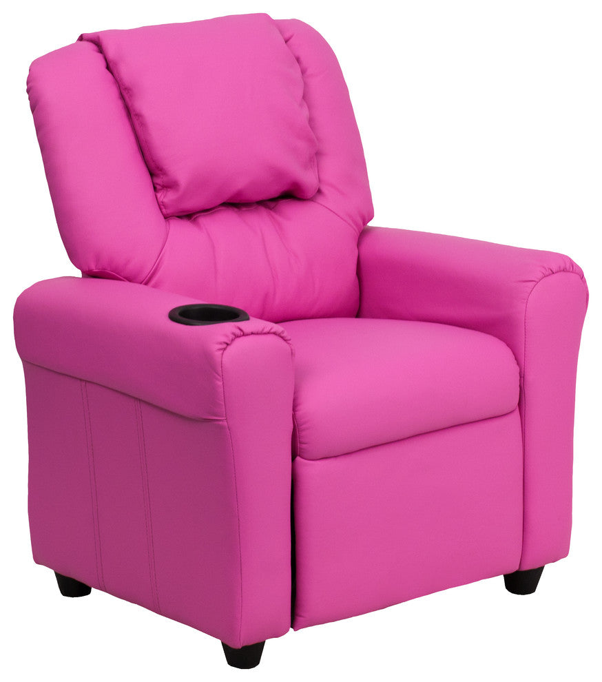 Flash Furniture   Contemporary Hot Pink Vinyl Kids Recliner with Cup Holder and Headrest - Pot Racks Plus