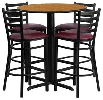 30'' Round Natural Laminate Table Set with X-Base and 4 Ladder Back Metal Barstools - Burgundy Vinyl Seat