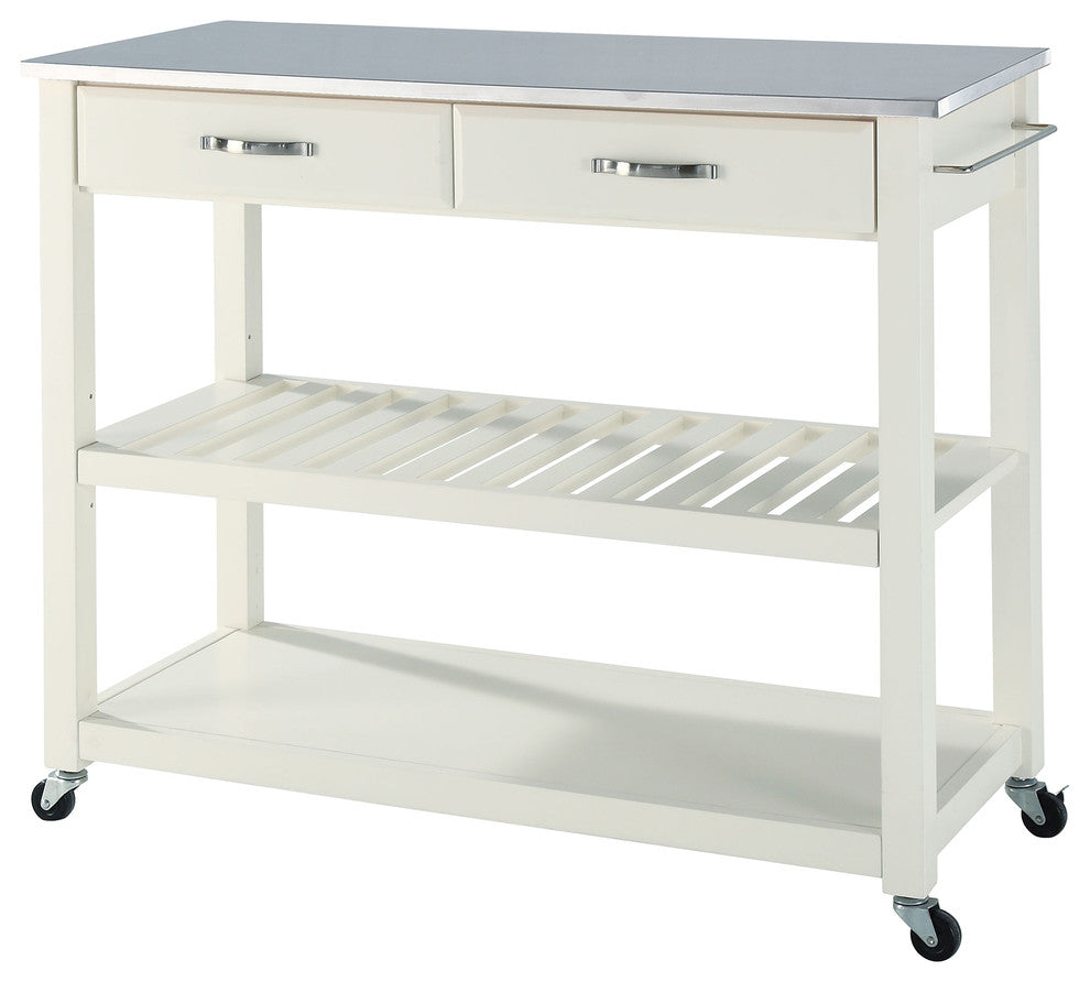 Stainless Steel Top Kitchen Cart, Island With Optional Stool Storage, White - Pot Racks Plus