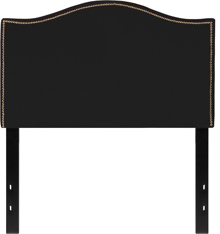 Lexington Upholstered Twin Size Headboard with Accent Nail Trim in Black Fabric