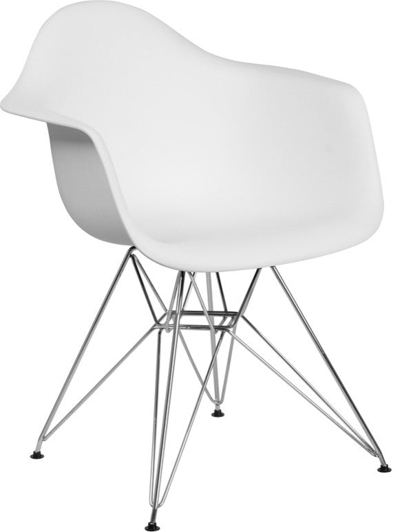 Alonza Series White Plastic Chair with Chrome Base
