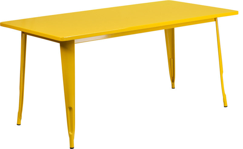 "Commercial Grade 31.5"" x 63"" Rectangular Yellow Metal Indoor-Outdoor Table"