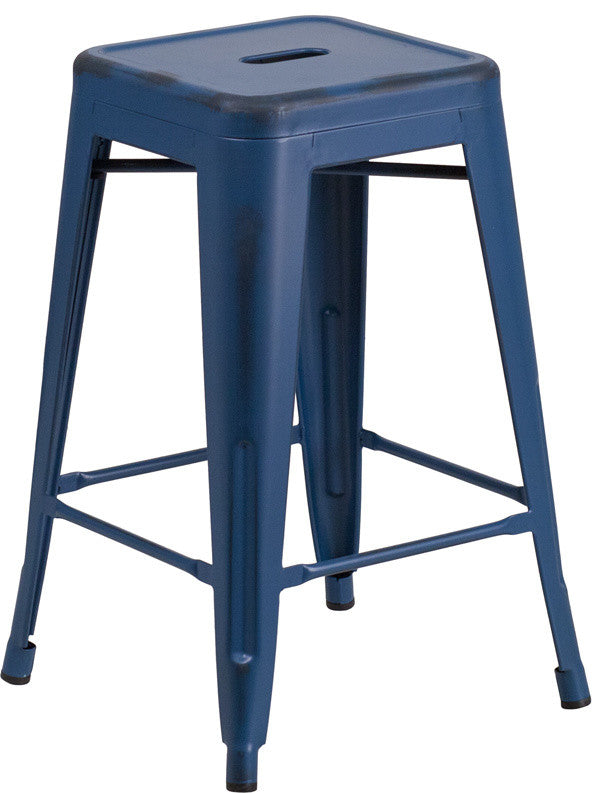 "Commercial Grade 24"" High Backless Distressed Antique Blue Metal Indoor-Outdoor Counter Height Stool"
