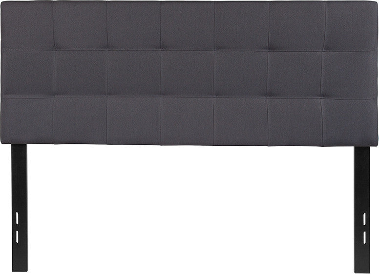 Bedford Tufted Upholstered Full Size Headboard in Dark Gray Fabric