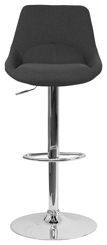 Flash Furniture Contemporary Black Fabric Adjustable Height Barstool with Chrome Base - Pot Racks Plus