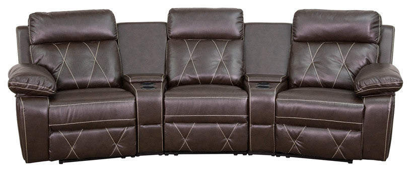 Flash Furniture   Reel Comfort Series 3-Seat Reclining Brown LeatherSoft Theater Seating Unit with Curved Cup Holders - Pot Racks Plus