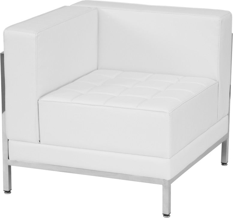 HERCULES Imagination Series Contemporary Melrose White LeatherSoft Left Corner Chair with Encasing Frame