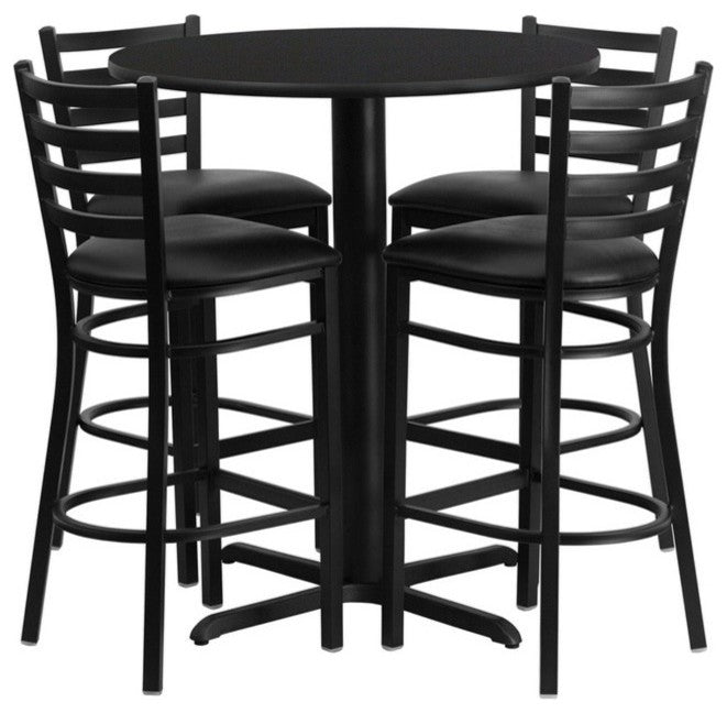 30'' Round Black Laminate Table Set with X-Base and 4 Ladder Back Metal Barstools - Black Vinyl Seat