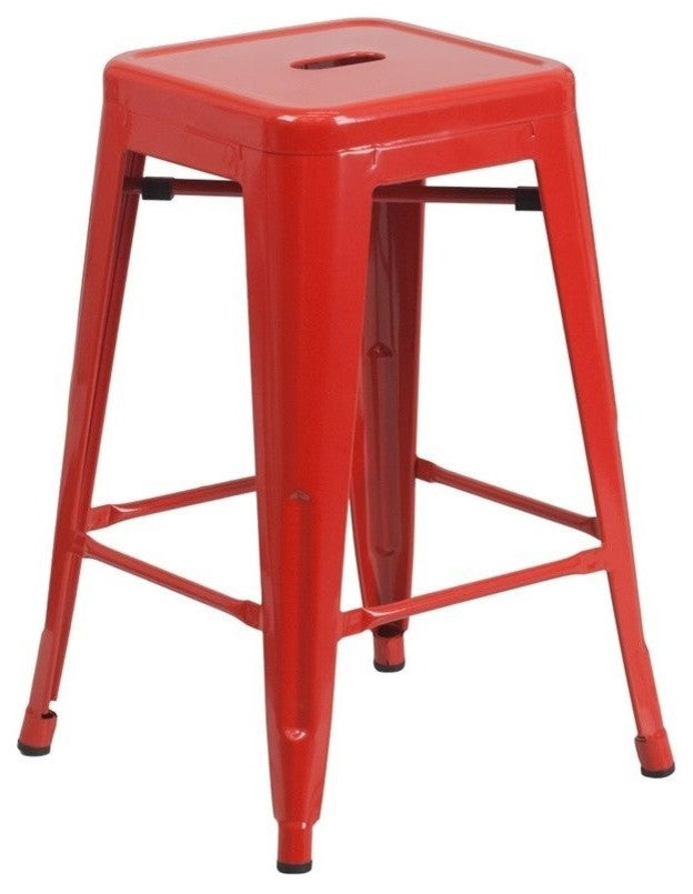 "Flash Furniture   Commercial Grade 24"" High Backless Red Metal Indoor-Outdoor Counter Height Stool with Square Seat - Pot Racks Plus"