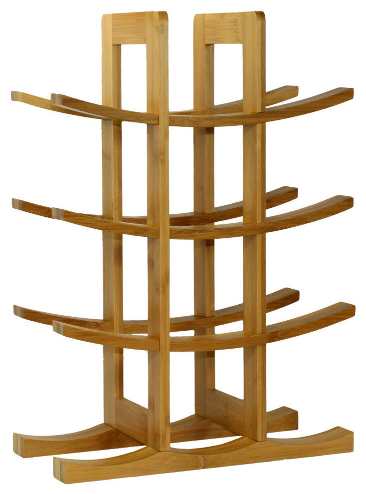 12-Bottle Bamboo Wine Rack, Natural - Pot Racks Plus