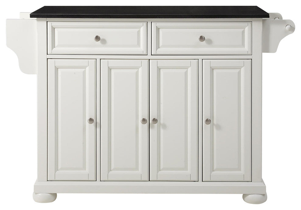 Alexandria Solid Black Granite Top Kitchen Island, White Finish - Pot Racks Plus