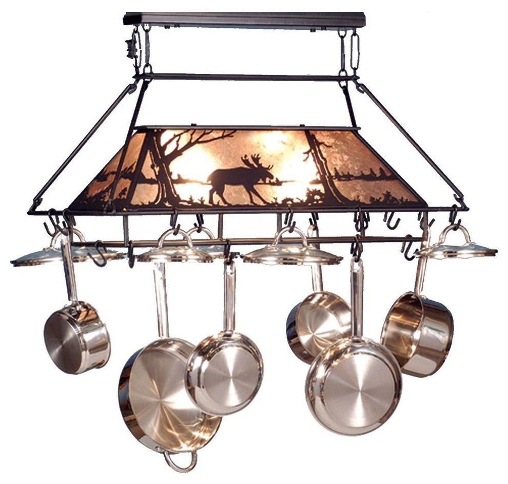 "40""L Moose at Lake Pot Rack - Pot Racks Plus"