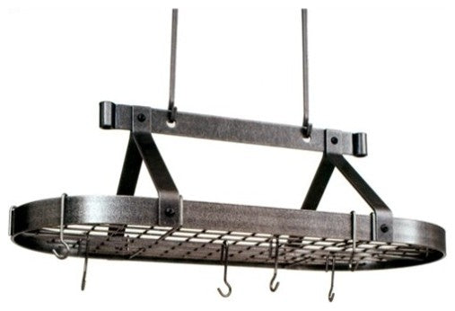 Premier 3 foot Oval Pot Rack W, Grid, Hammered Steel - Pot Racks Plus