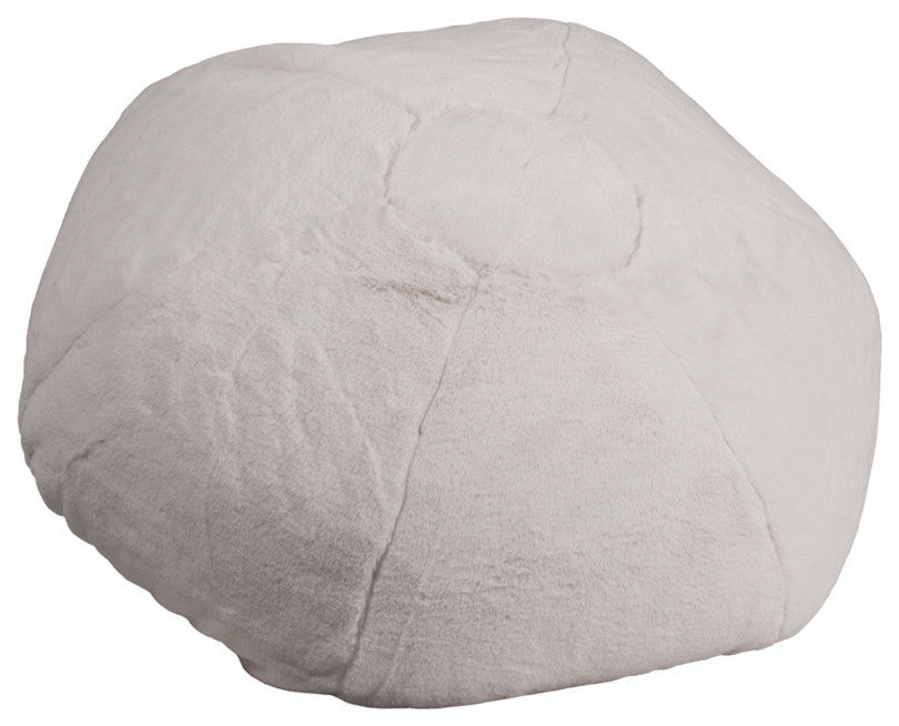 Flash Furniture   Oversized White Furry Bean Bag Chair for Kids and Adults - Pot Racks Plus