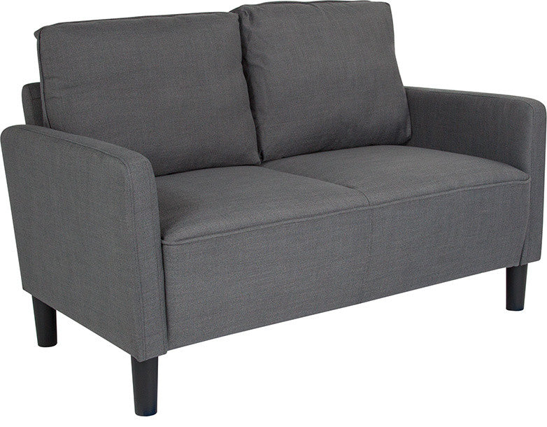 Washington Park Upholstered Loveseat in Dark Gray Fabric