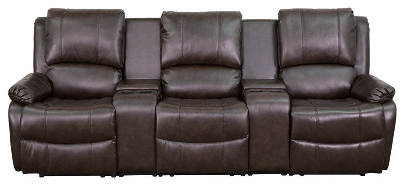 Flash Furniture   Allure Series 3-Seat Reclining Pillow Back Brown LeatherSoft Theater Seating Unit with Cup Holders - Pot Racks Plus