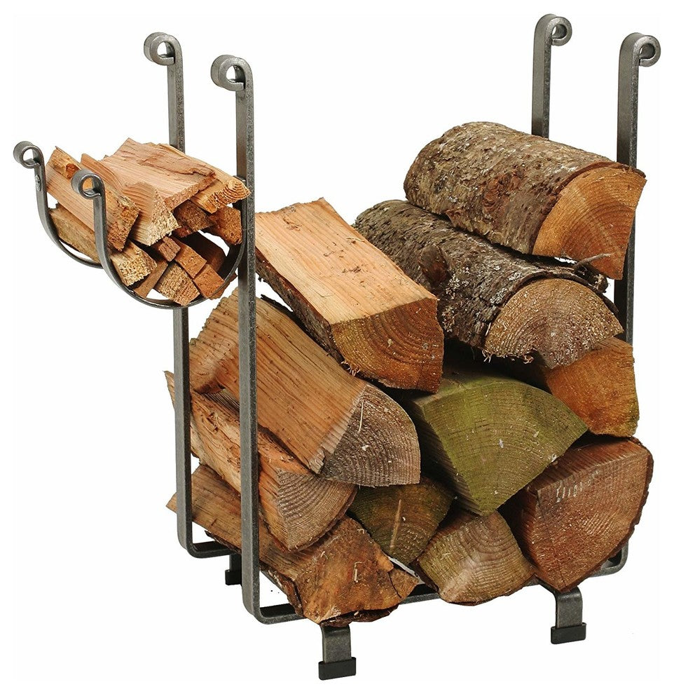 Indoor/Outdoor Rectangle Fireplace Log Rack, Hammered Steel - Pot Racks Plus