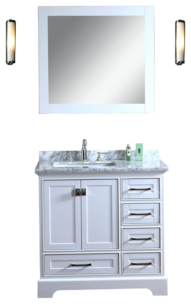 Newport White 48 inch Single Sink Bathroom Vanity with Mirror - Pot Racks Plus