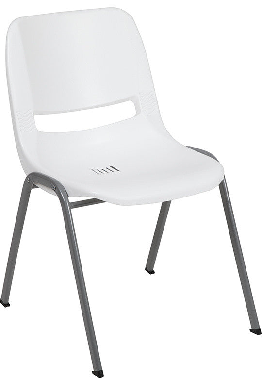 HERCULES Series 880 lb. Capacity White Ergonomic Shell Stack Chair with Gray Frame