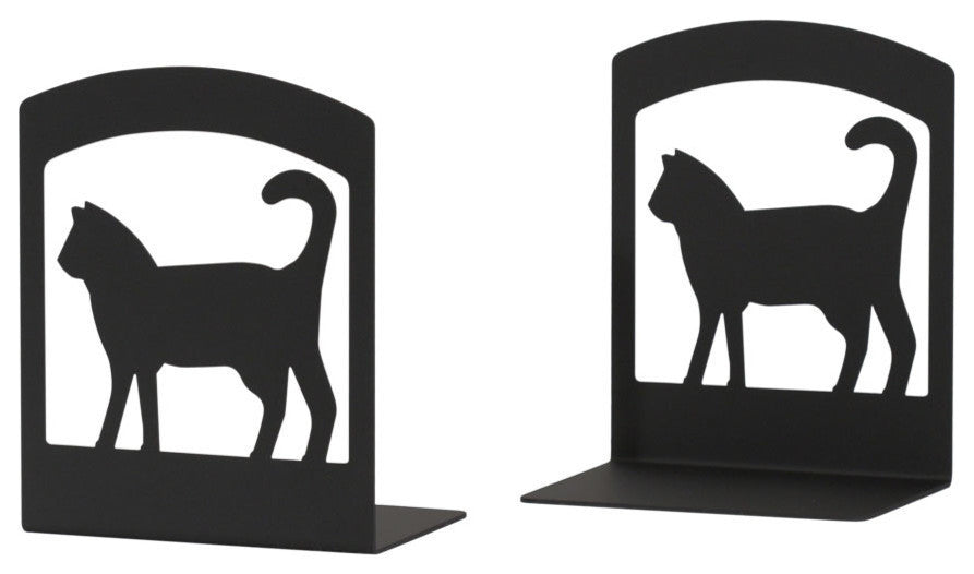 "Wrought Iron Book Ends, 5"" x6 1/4"" x3 1/2"", Cat"