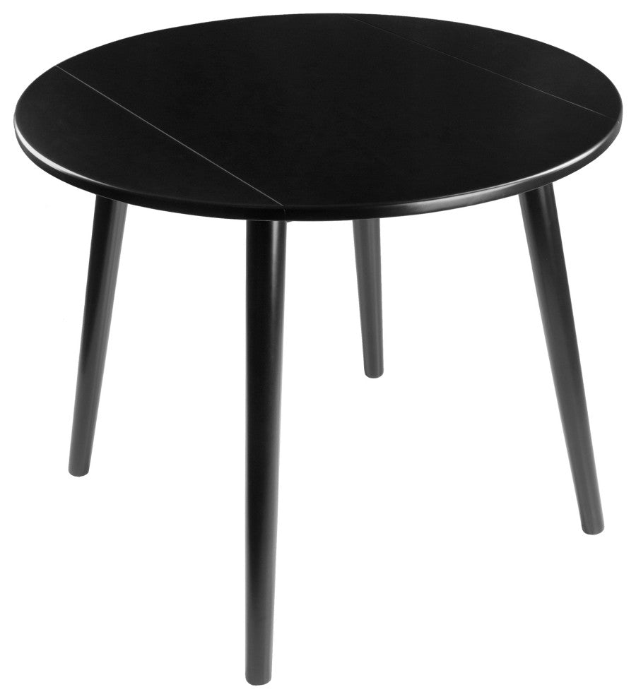 "Moreno 36"" Round Drop  Leaf Table, Black - Pot Racks Plus"
