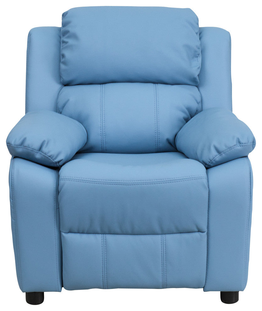 Flash Furniture   Deluxe Padded Contemporary Light Blue Vinyl Kids Recliner with Storage Arms - Pot Racks Plus