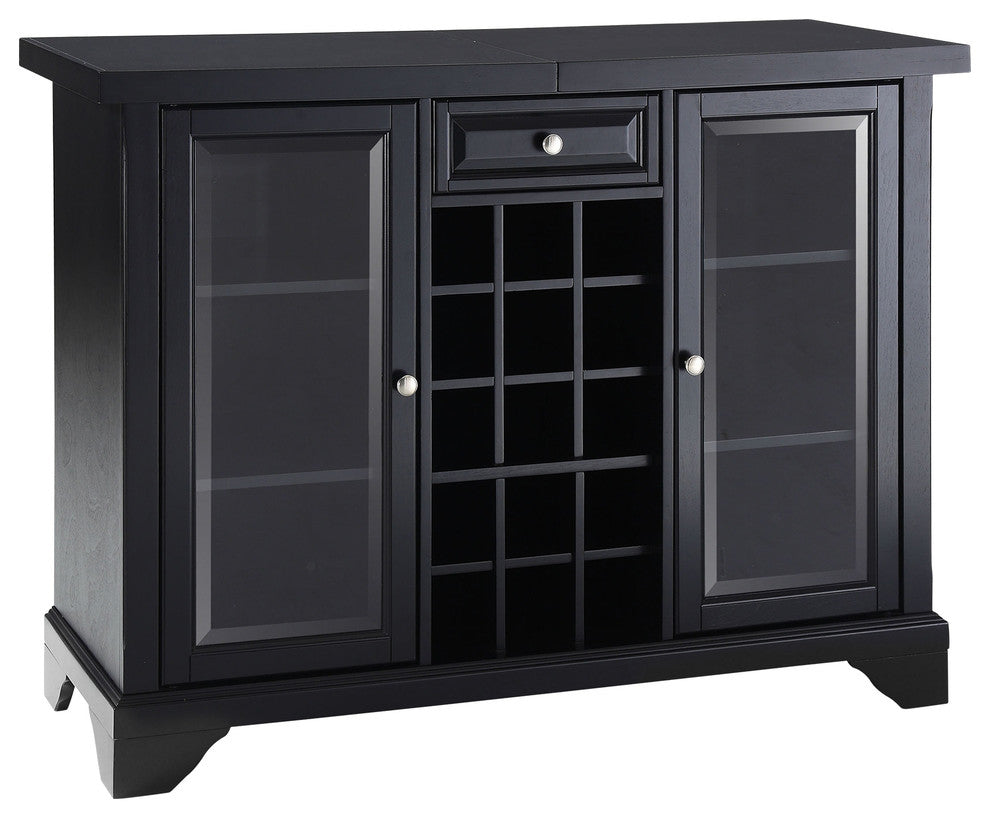 LaFayette Sliding Top Bar Cabinet, Black Finish - Pot Racks Plus