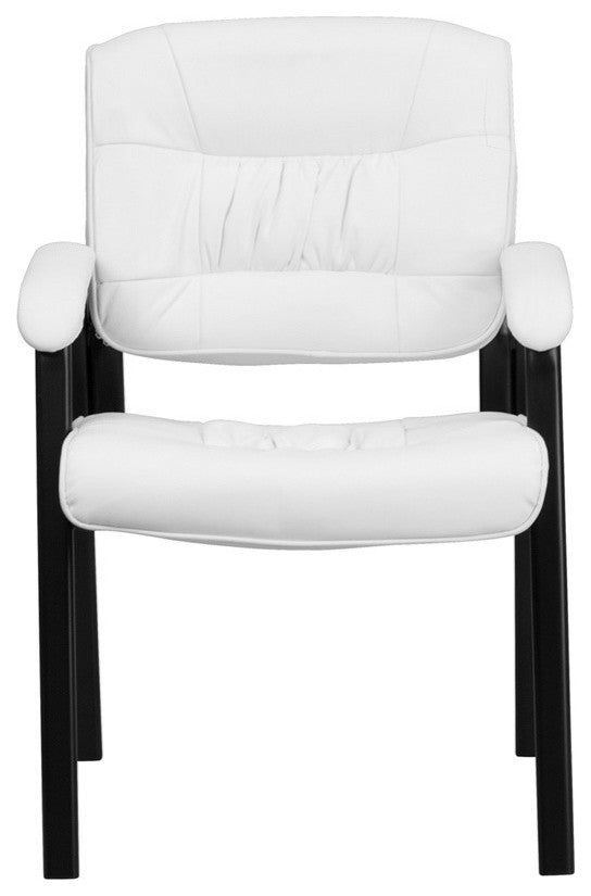 White LeatherSoft Executive Side Reception Chair with Black Metal Frame