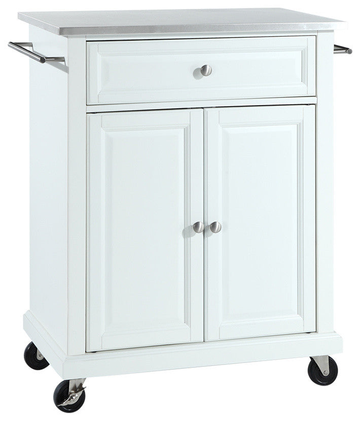 Stainless Steel Top Portable Kitchen Cart, Island, White Finish - Pot Racks Plus