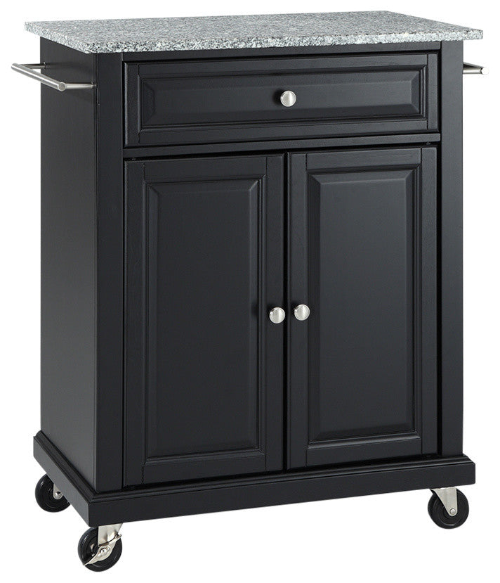 Solid Granite Top Portable Kitchen Cart, Island, Black Finish - Pot Racks Plus