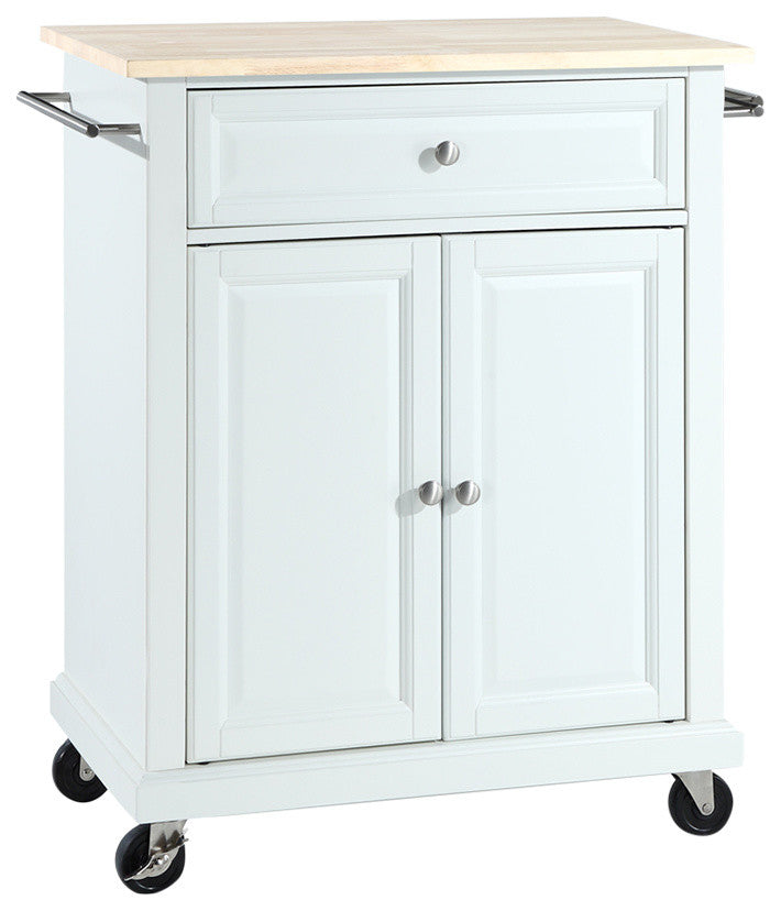 Natural Wood Top Portable Kitchen Cart, Island, White Finish - Pot Racks Plus