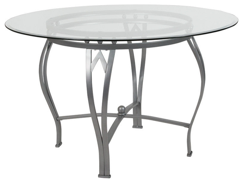 Flash Furniture Syracuse 48'' Round Glass Dining Table with Silver Metal Frame - Pot Racks Plus