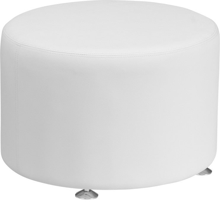 HERCULES Alon Series Melrose White LeatherSoft 24'' Round Ottoman