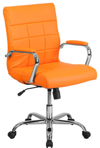 Mid-Back Orange Vinyl Executive Swivel Office Chair with Chrome Base and Arms