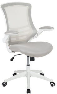 Mid-Back Light Gray Mesh Swivel Ergonomic Task Office Chair with White Frame and Flip-Up Arms