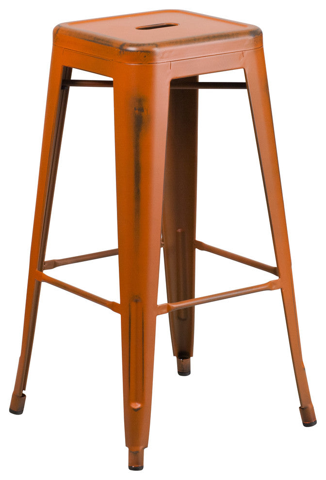 "Commercial Grade 30"" High Backless Distressed Orange Metal Indoor-Outdoor Barstool"