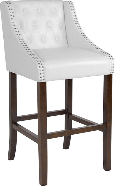 "Flash Furniture Carmel Series 30"" High Transitional Tufted Walnut Barstool with Accent Nail Trim in White LeatherSoft - Pot Racks Plus"