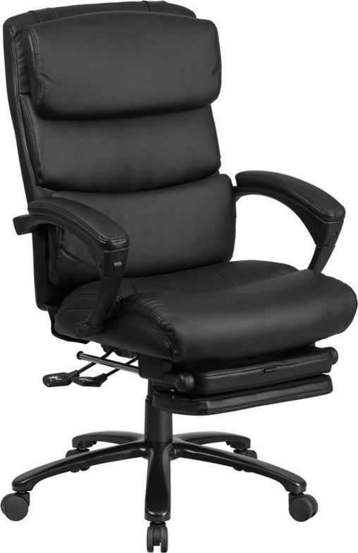 High Back Black LeatherSoft Executive Reclining Ergonomic Office Chair with Adjustable Headrest, Coil Seat Springs and Arms