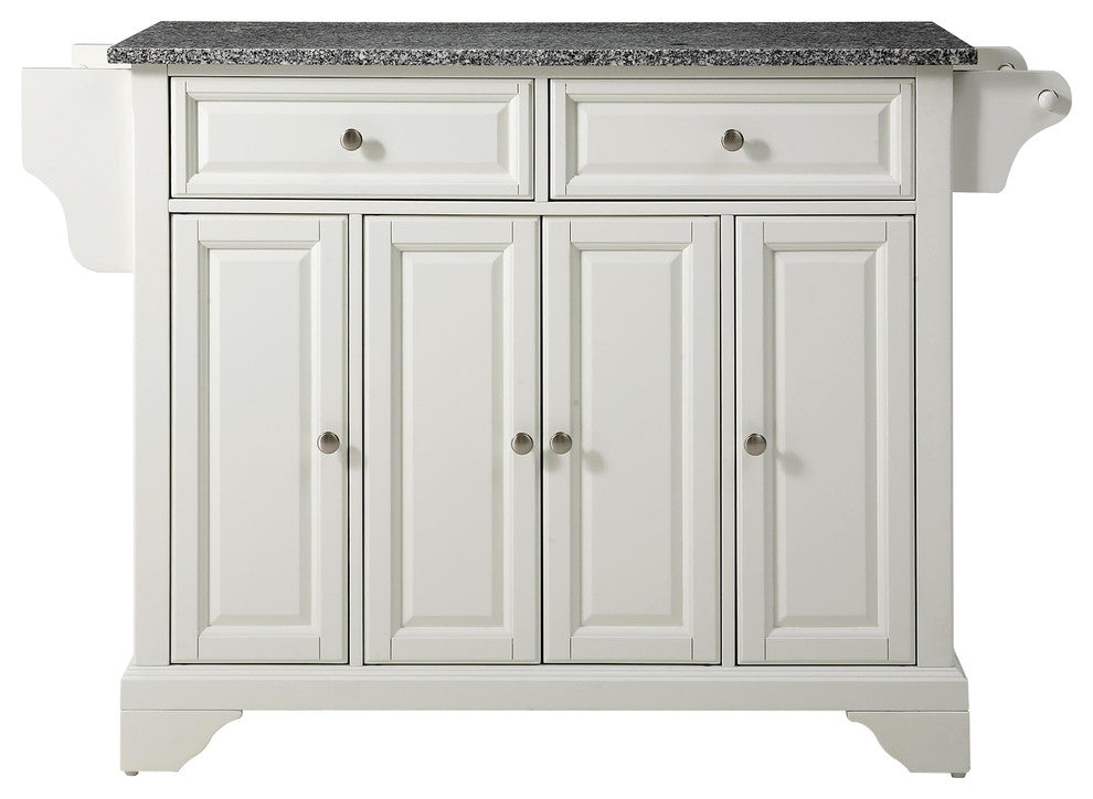 LaFayette Solid Granite Top Kitchen Island, White Finish - Pot Racks Plus