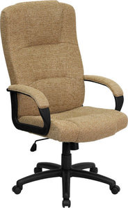 High Back Beige Fabric Executive Swivel Office Chair with Arms